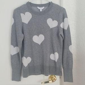 Grey + White Heart Sweater